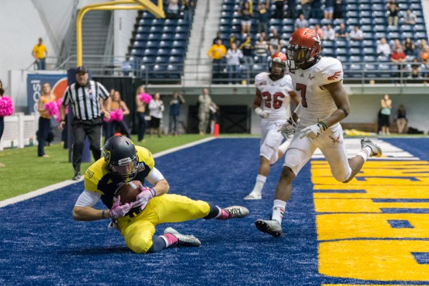 With 12-seconds left in regulation, NAU's Dan Galindo hauls in a Jordan Perry pass to score the game-winning touchdown