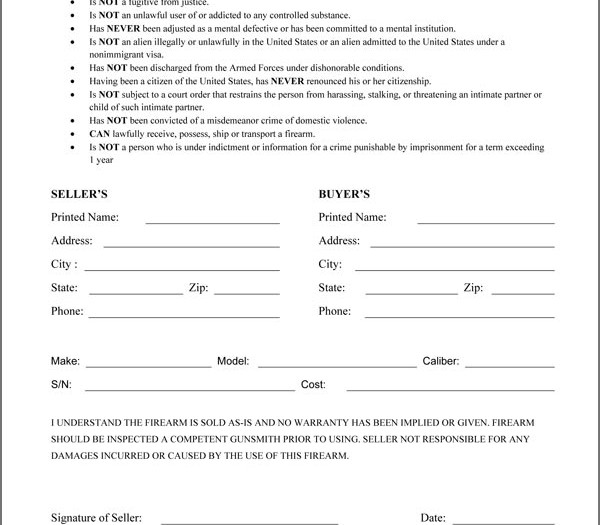 General Bill Of Sale Form 7+ sample general bill of sale forms - gun bill of sale