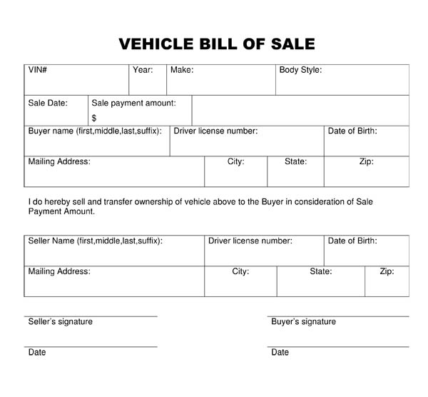 Sample Trailer Bill of Sales - equipment bill of sale template