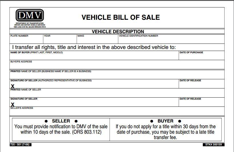 nc automobile bill of sale