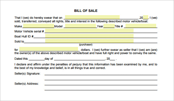 Free Motorcycle Bill of Sale PDF Format Bill of Sale Form Template