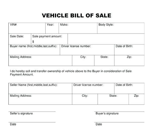 Blank Bill Of Sale Template Bill of Sale Form Template Vehicle