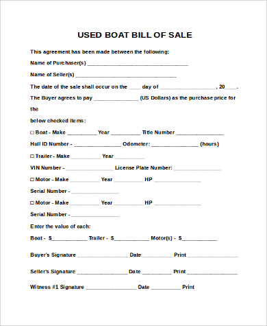 How to Write Bill of Sale for Boat Bill of Sale Form Template