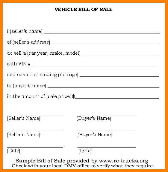 How to Write DMV Bill of Sale Bill of Sale Form Template Vehicle