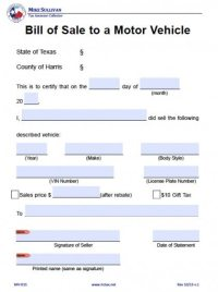 Free Harris County, Texas Bill of Sale Form | PDF | Word ...