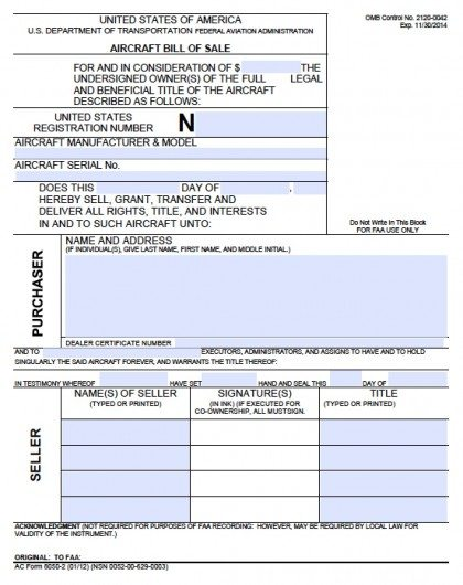 Free Aircraft Bill of Sale Form PDF Word (doc) - equipment bill of sale template