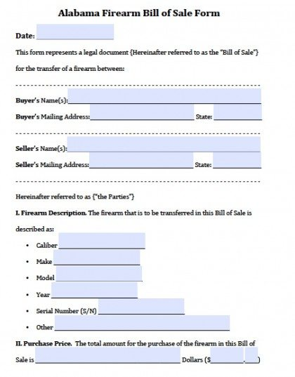 Free Alabama Gun/Firearm Bill of Sale Form PDF Word (doc)