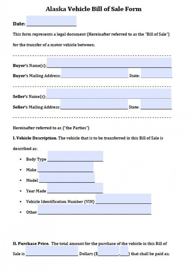Free Alaska Vehicle Bill of Sale Form PDF Word (doc) - bill of sale for car