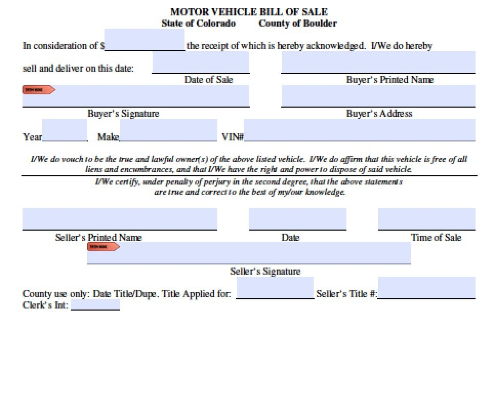 Free Colorado Boat\/Trailer Bill of Sale Form PDF Word (doc) - bill of sale word doc