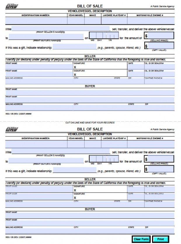 Free California DMV Bill of Sale (REG 135) Vehicle Boat Form