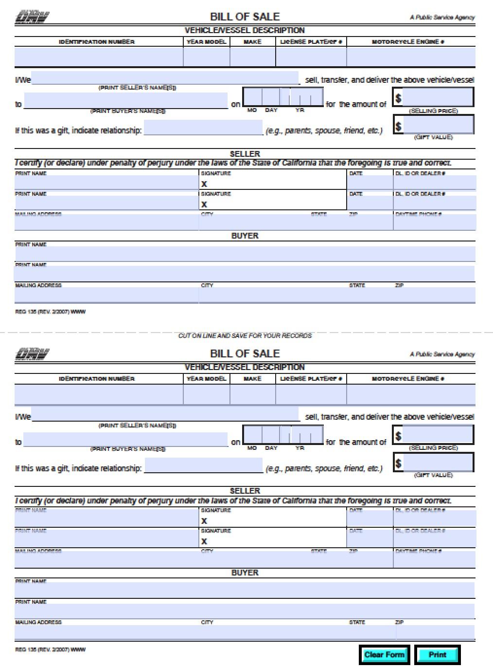 Free California DMV Bill of Sale (REG 135)   Vehicle   Boat Form   PDF