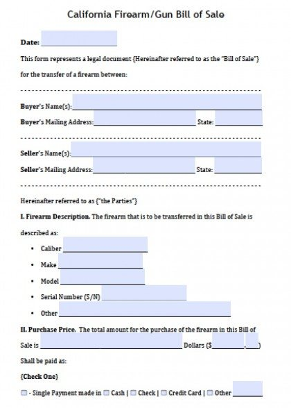 Free California Firearm\/Gun Bill of Sale Form PDF Word (doc) - gun bill of sale