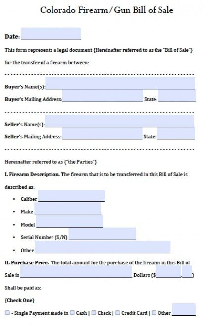 Free Colorado Gun\/Firearm Bill of Sale Form PDF Word (doc) - gun bill of sale