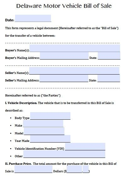 Free Delaware Motor Vehicle (DMV) Bill of Sale Form PDF Word (doc)