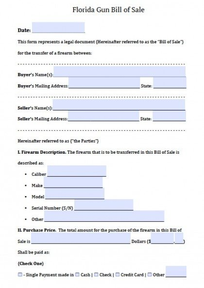 Free Florida Firearm/Gun Bill of Sale Form PDF Word (doc)
