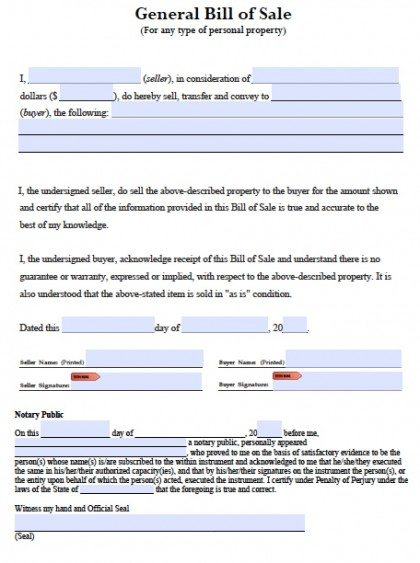 Free General Blank Bill of Sale PDF Template Word (doc) Form - general bill of sale template