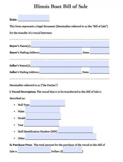 Free Illinois Boat Bill of Sale Form PDF Word (doc)