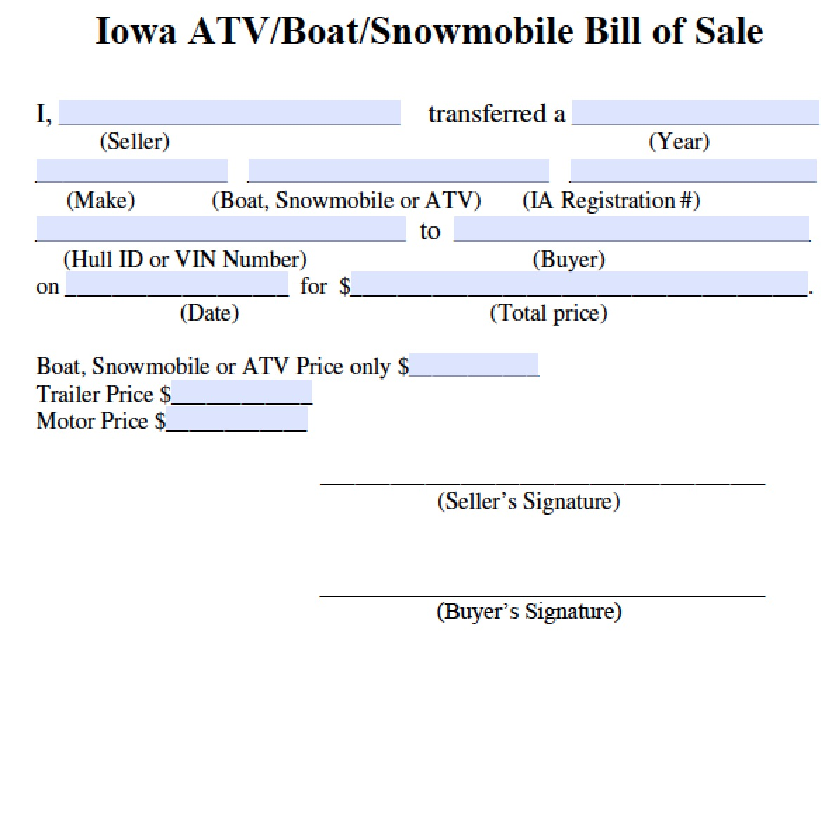 boat motor trailer bill of sale