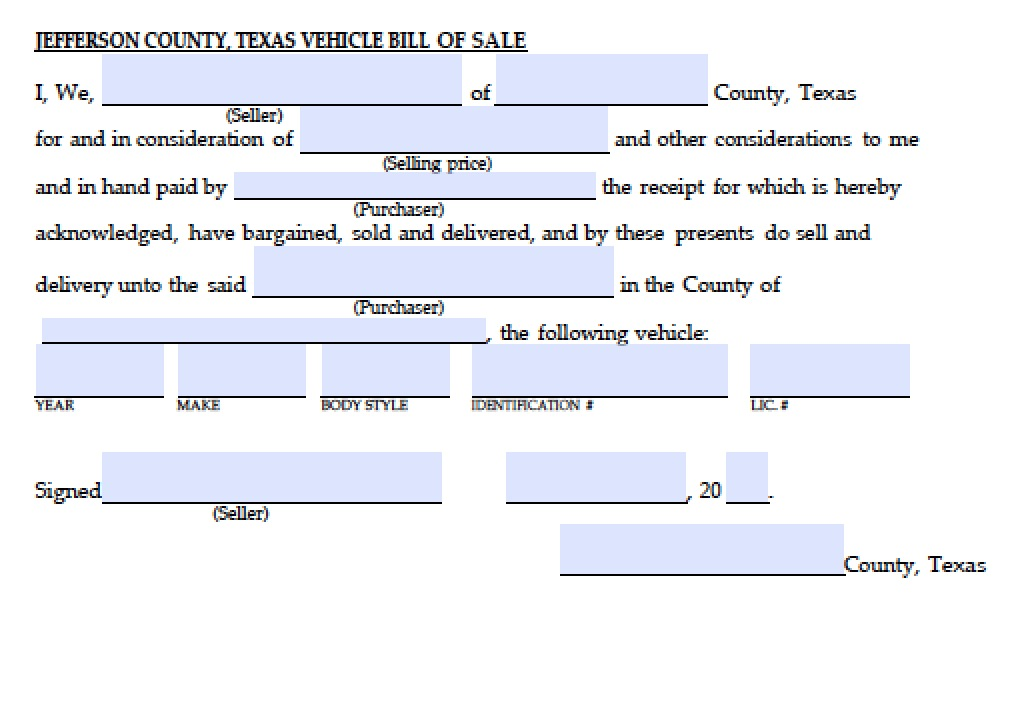 Free Jefferson County, Texas Vehicle Bill of Sale Form PDF Word - bill of sale form in pdf
