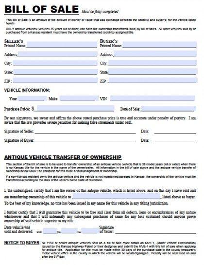 Free Kansas DMV (Vehicle) Bill of Sale TR-12 Form PDF Word (doc)