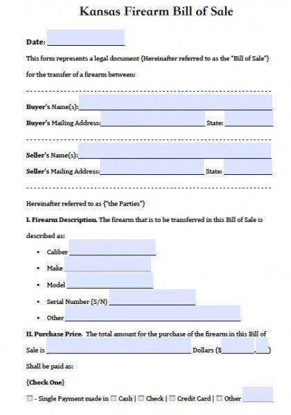 Free Kansas Firearm/Gun Bill of Sale Form PDF Word (doc)