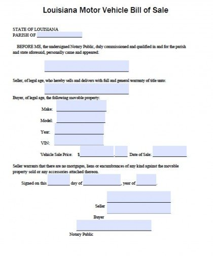 Free Louisiana DMV (Vehicle) Bill of Sale Form PDF Word (doc) - bill of sales forms