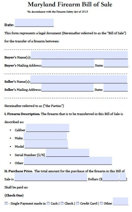 Gun Bill Of Sale Form Free Maryland Firearmgun Bill Of Sale Form Pdf Word