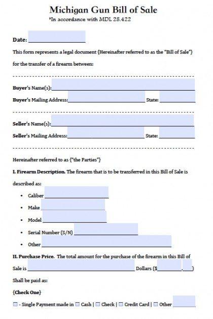 Free Michigan Firearm/Gun Bill of Sale Form PDF Word (doc)