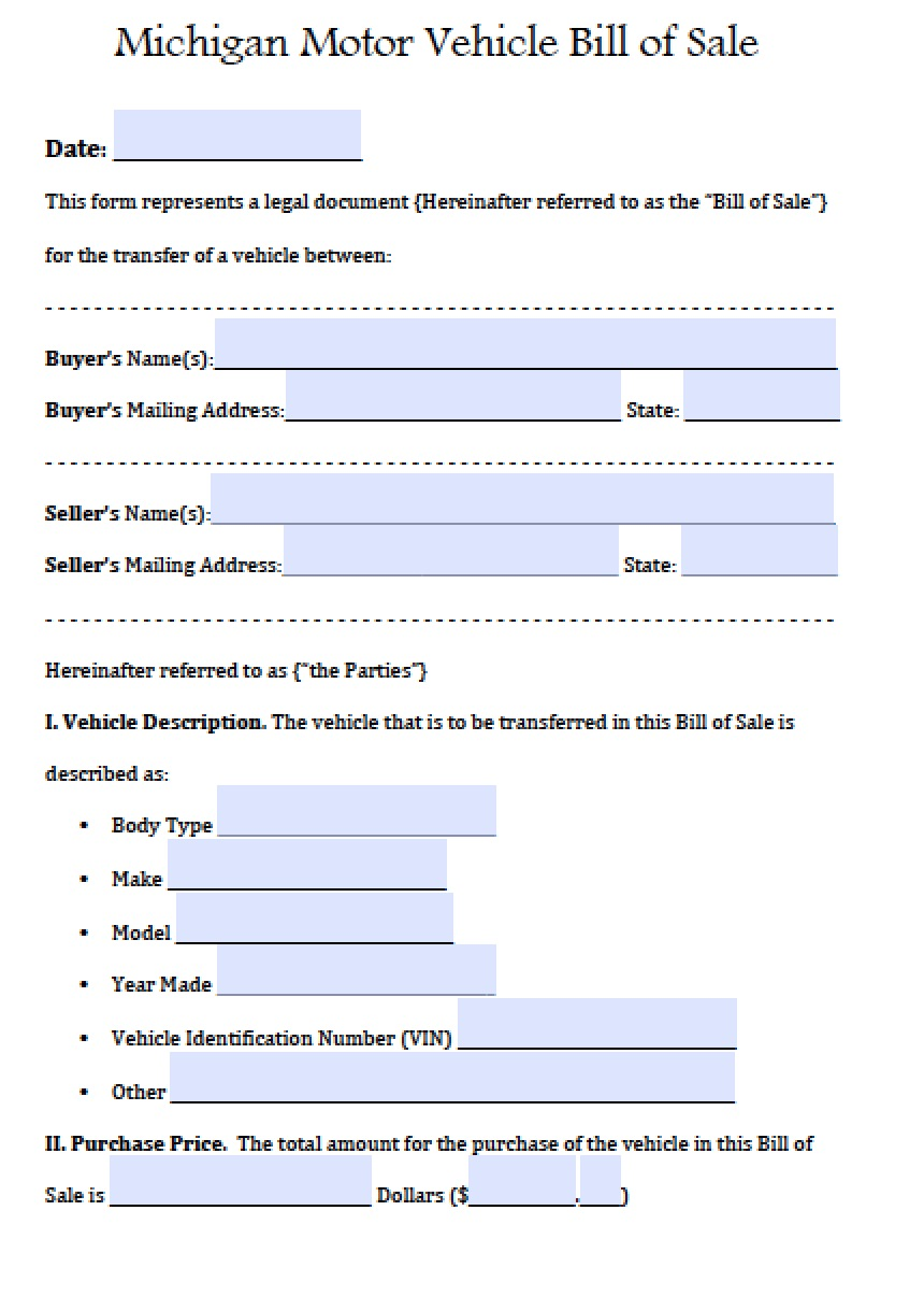 Free Michigan Motor Vehicle Bill of Sale Form   PDF   Word (.doc)