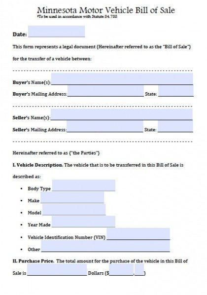 Free Minnesota Motor Vehicle Bill of Sale Form PDF Word (doc)