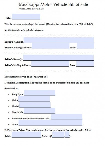 Free Mississippi Motor Vehicle Bill of Sale Form PDF Word (doc) - bill of sale template doc