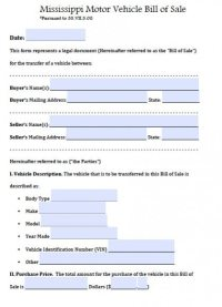 Free Mississippi Motor Vehicle Bill of Sale Form | PDF ...