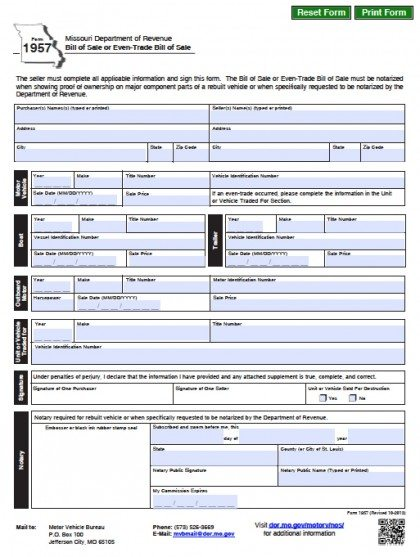 Free Missouri DMV (Vehicle/Boat) Bill of Sale Form PDF Word (doc) - bill of sale dmv