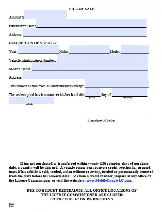 Free Mobile County, Alabama Bill of Sale Form PDF Word (doc) - bill of sales generic