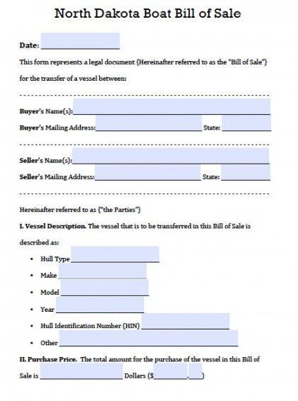 Free North Dakota Boat Bill of Sale Form PDF Word (doc) - boat bill of sale template