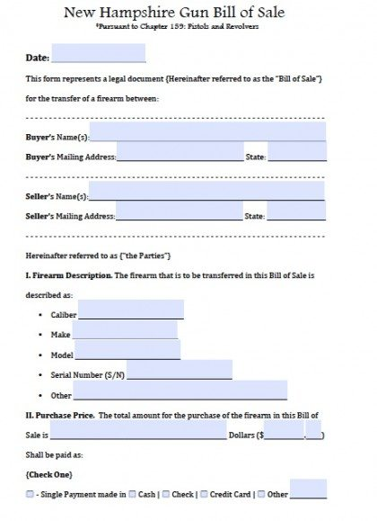 Free New Hampshire Firearm\/Gun Bill of Sale Form PDF Word (doc) - gun bill of sale
