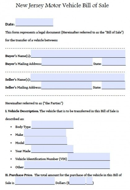 Free New Jersey Motor Vehicle (Car/Auto) Bill of Sale Form PDF
