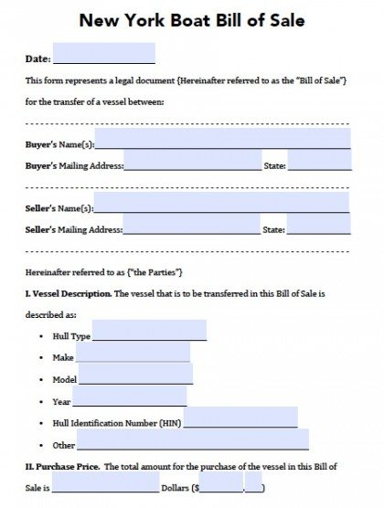 Free New York Boat Bill of Sale Form PDF Word (doc) - bill of sales forms