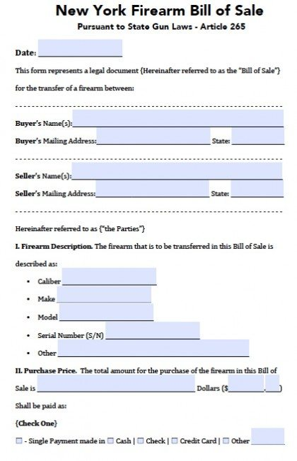 NEW BILL OF SALE FORM DMV NY - bill of sale dmv