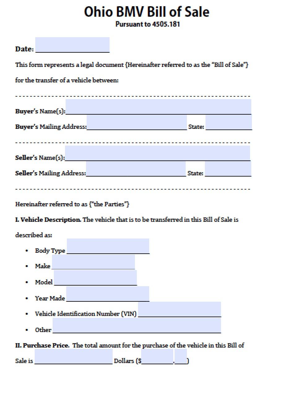 Bill Of Sale Form Ohio Bmv | Professional Resume Engineer