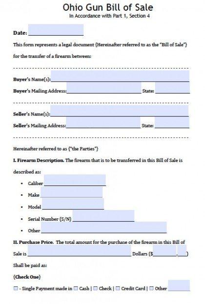 Bill Of Sale Form For Motor Vehicles Dmvorg Free Ohio Firearmgun Bill Of Sale Form Pdf Word Doc