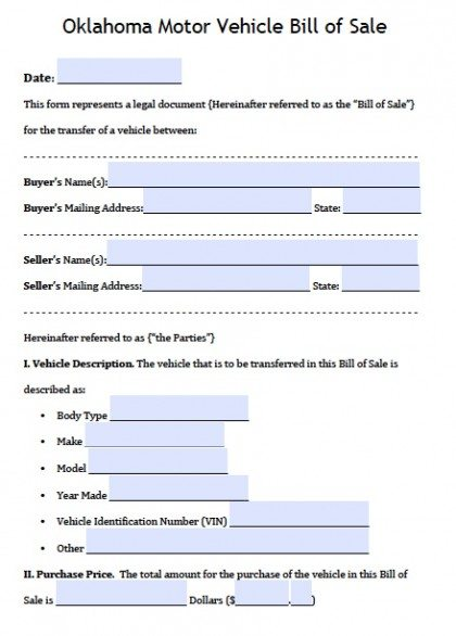 Free Oklahoma DPS Motor Vehicle Bill of Sale Form PDF Word (doc)