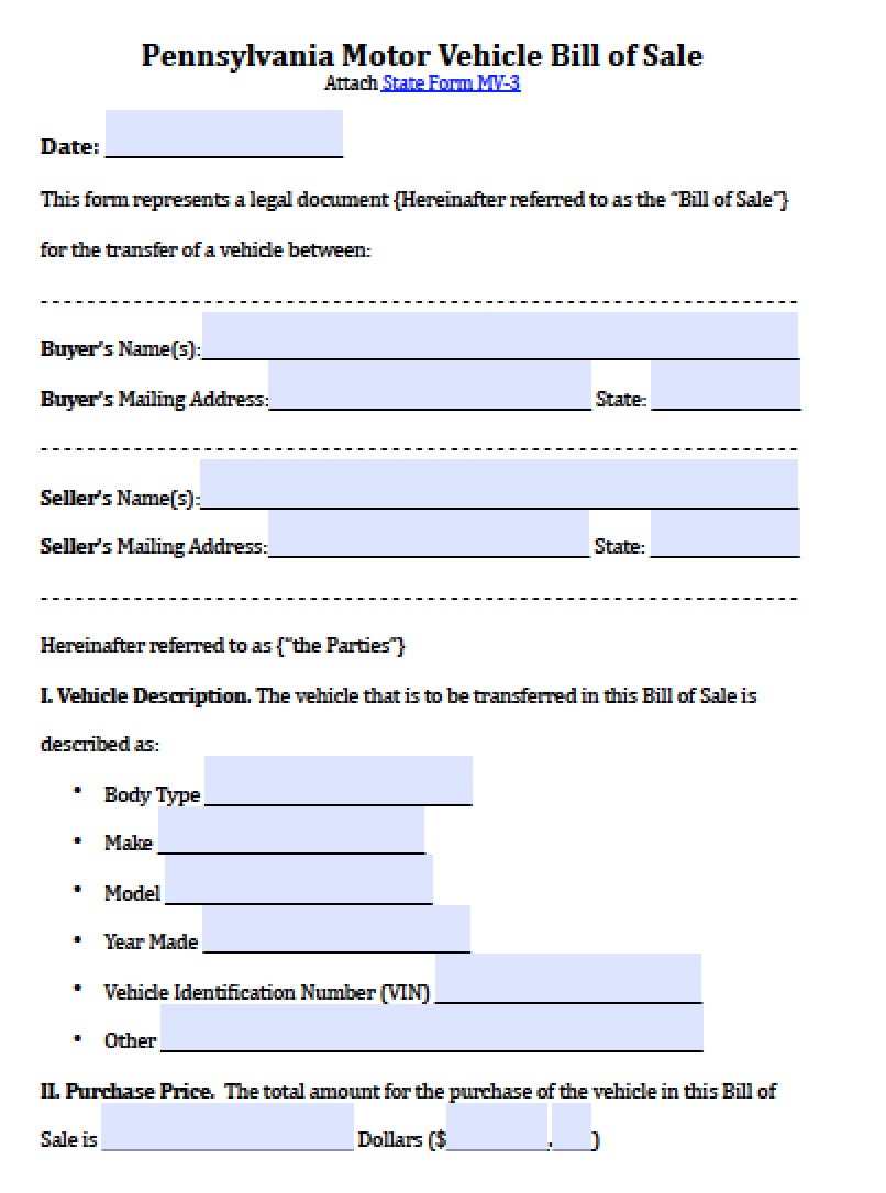 example of a bill of sale for a vehicle
