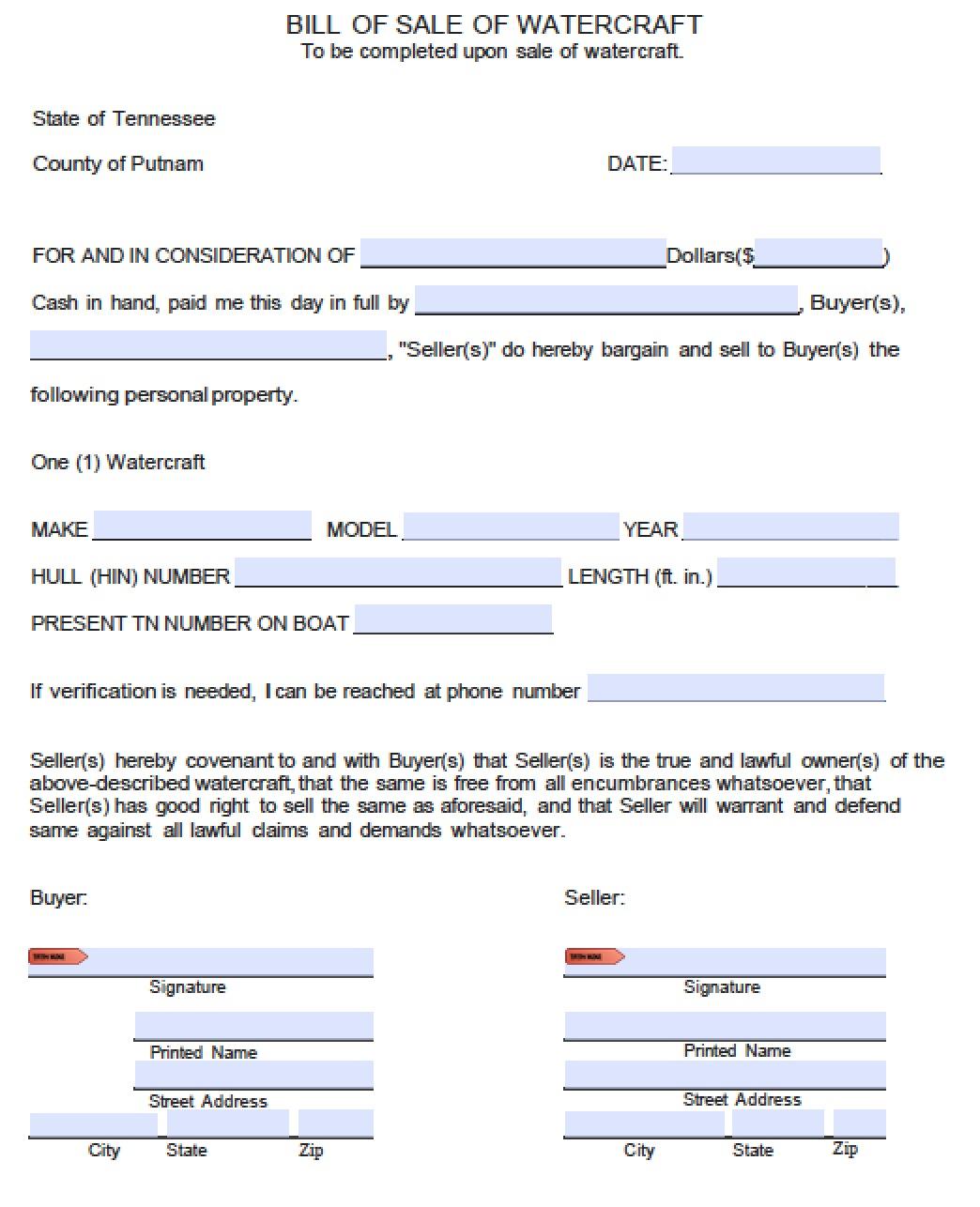 Bill Of Sale Form Boat Tn – Bill of Sale Word Document