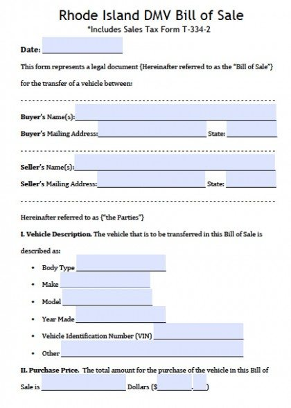 Free Rhode Island DMV (Vehicle) Bill of Sale Form PDF Word (doc) - automobile bill of sale sample
