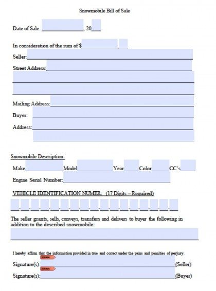 Free Snowmobile Bill of Sale Form PDF Word (doc) - bill of sale word doc