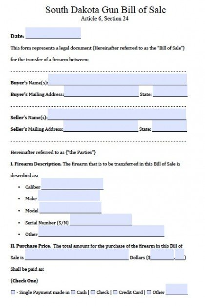 Bill Of Sale Form Free South Dakota Firearmgun Bill Of Sale Form Pdf
