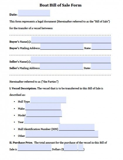 Free Boat Vessel Bill of Sale Forms PDF Word (doc) - bill of sale form in pdf