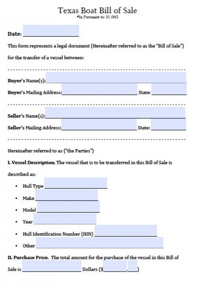 Free Texas Boat Bill of Sale Form PDF Word (doc)