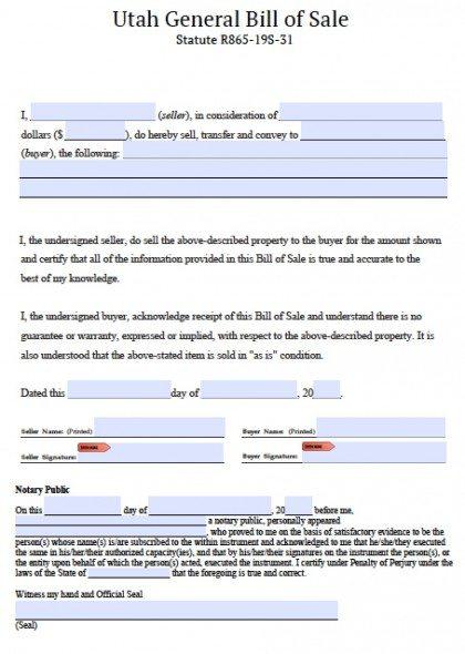 Free Utah General Blank Bill of Sale Form PDF Word (doc)